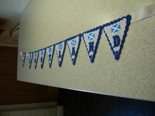 Handmade SCOTLAND St Andrews jour Bunting Garland bleu blanc sur mesure NEUF