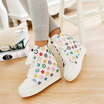Womens High Top Ankle Boots Fashion High Wedge Heel Sneaker Leather Girls Shoes