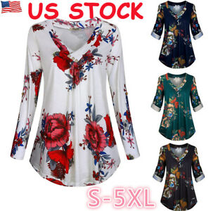 bd2e1562ed6 Womens V Neck Blouse Ladies Long Sleeve Casual Floral Loose Shirt ...