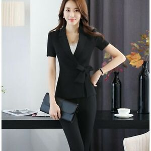 9e13df9357 Caricamento dell'immagine in corso Tailleur-completo-donna-nero-fiocco-slim- giacca-manica-