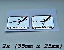 2x Audi Quattro gecko 3D Aufkleber für Innen oder
