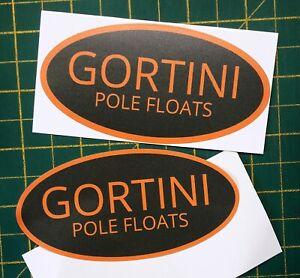 2 x GORTINI POLE FLOATS vinyl fishing logo sticker decal angling tackle box