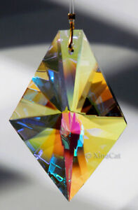 Huge-KITE-63mm-Austrian-Crystal-Clear-AB-Prism-SunCatcher-Ornament-2-5-inches