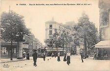 CPA 75 PARIS 20e RUE DE BELLEVILLE AUX RUES BOLIVAR ET DES PYRENEES