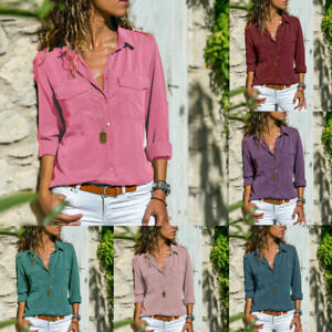 Fashion-Womens-Long-Sleeve-Loose-Blouse-Casual-Shirt-Summer-Cotton-Tops-T-Shirt