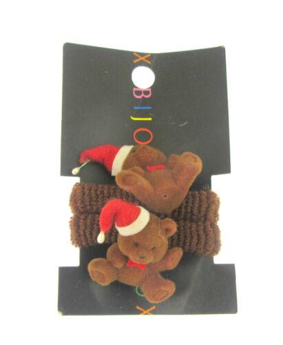 h HAIR PONIOS  STRETCH  BROWN TEDDY BEARS WITH SANTA HATS 2 X ON A CARD