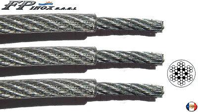 Cable inox Gainé PVC Transparent 3 x 4 mm inox VENDU AU Mètre