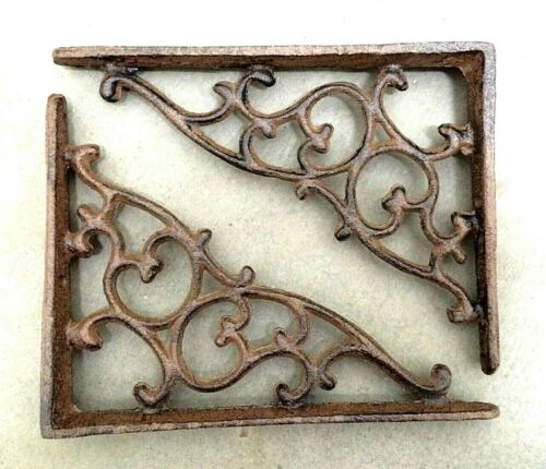 SET OF 2 ORNAMENTAL SHELF BRACKET BRACE Vintage Rustic Antique Brown Cast Iron