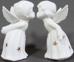 Japan Kissing Angels Porcelain Angels Bisque Angel Figures Pair of Vintage Japan Angels Antique Japan Angels