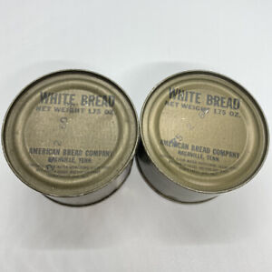 Lot Of 2 VNT MRE Canned White Bread Dated 1960 American Bread Co Tenn. (Expired)