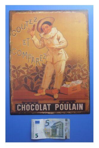 """cm 33x25 Targa vintage /""""Chocolat Poulain goutez comparez/"""" metallo cioccolato"""