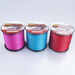Pink blue red 100m 1000m 6 300lb dyneema 100 pe spectra for Pink braided fishing line