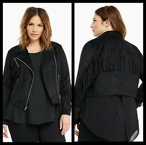 0d6d0c713c0 NWT Torrid Plus Size 00 Medium Large Black Faux Suede Fringe Moto ...
