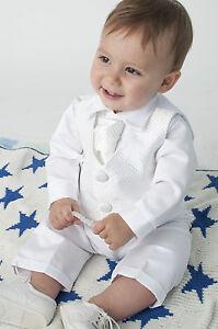 Bébé Garçons 4 Pièce Baptême Costume / Baptême Costume Carreaux Blancs-afficher Le Titre D'origine