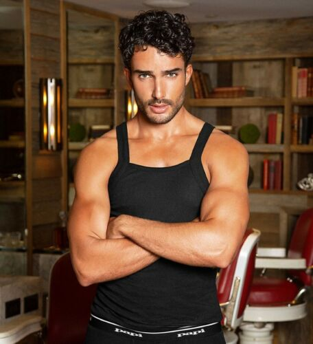 Papi Men's 3 Pack 100% Cotton Square Neck Tank Top in Choice of Black or White