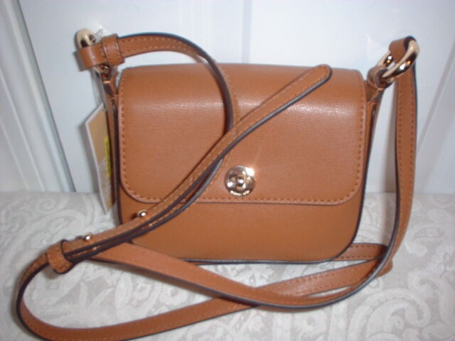 0d1d3f6c3fc3 NWT Michael Kors Rivington Leather Large Flap Crossbody Shoulder Handbag  Acorn