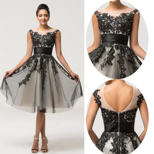 Kurz Vintage 50S 60S Abendkleid Cocktail Ballkleid Partykleid Mini Kleid 32~42