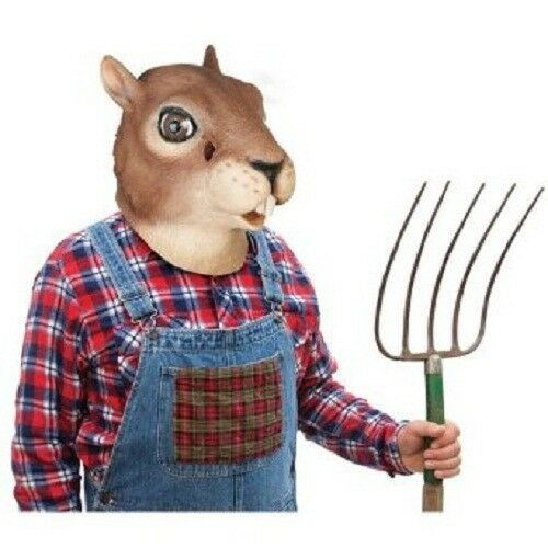 Squirrel Head Mask Creepy Halloween Costume Theater Prop Novelty Latex Rubber