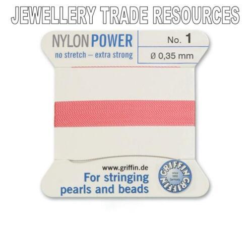 DARK PINK NYLON POWER SILKY THREAD 0.35mm STRINGING PEARLS /& BEADS GRIFFIN 1
