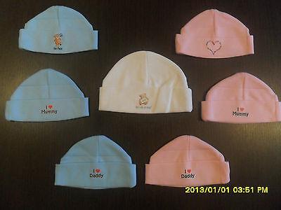 Baby Neonato Cappello Beanie Ospedale Cotone Cap Boys Girls Unisex Rosa Blu Crema-mostra Il Titolo Originale Superficie Lucente