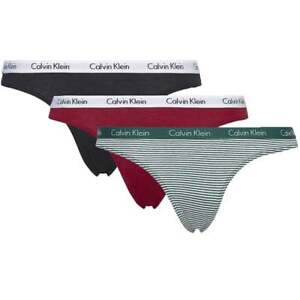 6682bb42e65f Calvin Klein Women Carousel 3-Pack Thong, Red / Black / Green Stripe ...
