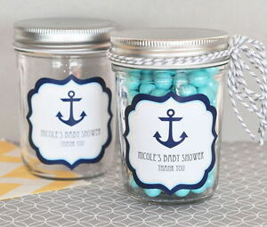 Image Is Loading 96 Personalized Nautical Baby Theme Mini Mason Jars