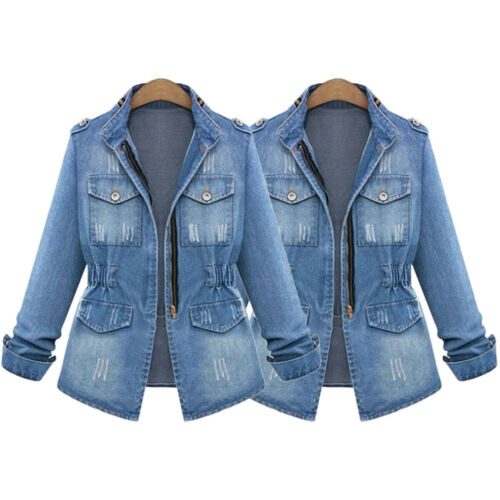 NEW Plus Size Casual Womens Ladies Denim Oversize Jeans Chain Jacket pocket Coat