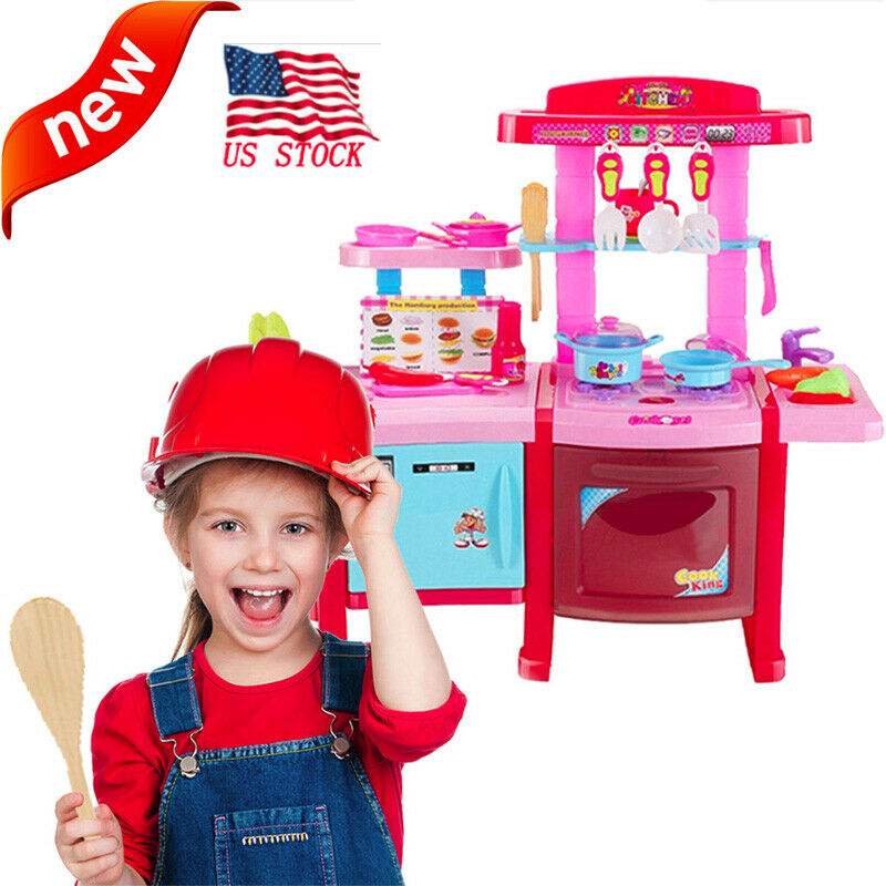 Kitchen Playset For Girls Pretend Play Toy Cooking Set w/ Ta