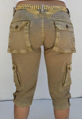 Neuer Frauen ROTKEHLCHEN Jeans mit Nieten Besetzt Cargo Capri Sz 24 -gld Wings