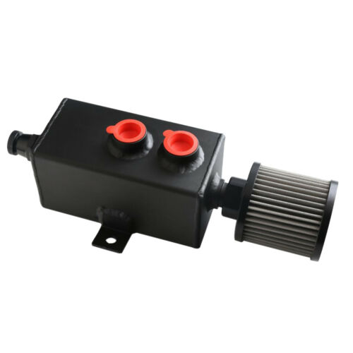 Black 1L Universal Aluminum Oil Catch Can Fuel Tank With Breather Filter