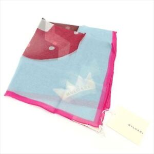 Image is loading Bvlgari-scarf-Blue-Pink-Woman-Authentic-Used-T8273 44507f00ae5