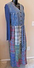 CAROLE LITTLE Womens 14 Maxi Dress Jean Patchwork Country Prairie Modest L/S USA
