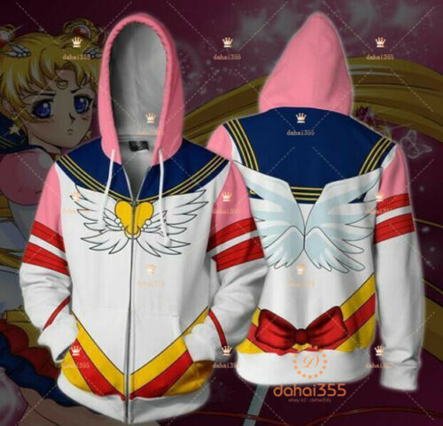 Anime Sailor Moon Sweater Casual Zipper Unisex Cardigan Hoodies Jacket Coat #X1