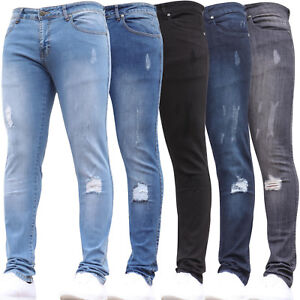 New-Mens-Super-Stretch-Skinny-Ripped-Designer-Denim-Pants-Jeans-All-Waist-Sizes