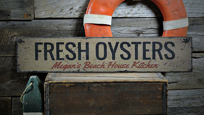 Oysters Decor, Wood Oyster Sign -Distressed Wooden Sign ENS1002021