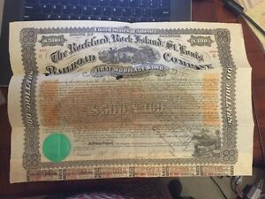 RC0215  1868 ORIGINAL STATE OF ILLINOIS RAILROAD COMPANY FIRST MORTGAGE BOND  $5