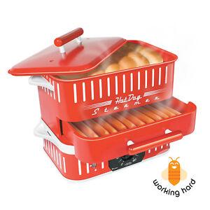 hot dog steamer machine electric food bun warmer cooker red retro vintage 702188320313 ebay. Black Bedroom Furniture Sets. Home Design Ideas