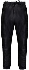 """Nouveau hommes /""""s noir en cuir véritable jogging bas pantalon nappa agneau sweat track"""