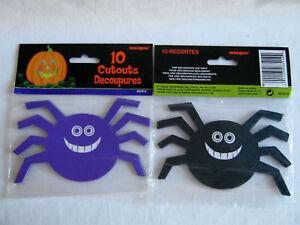 10-HALLOWEEN-SPIDER-CARDBOARD-CUTOUTS-DECORATION-HORROR-PARTY-CRAFT-PURPLE-BLACK
