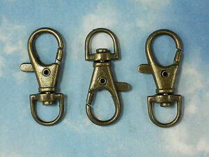 4 LG Lobster Claw Clasps Bronze Swivel Steampunk 38mm Key Zipper Clips #P1094