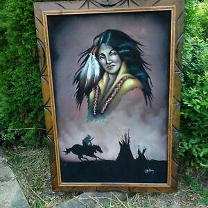 2c34d570e9c0a Details about Vintage Black Velvet Native American Indian Woman Framed  Painting 40