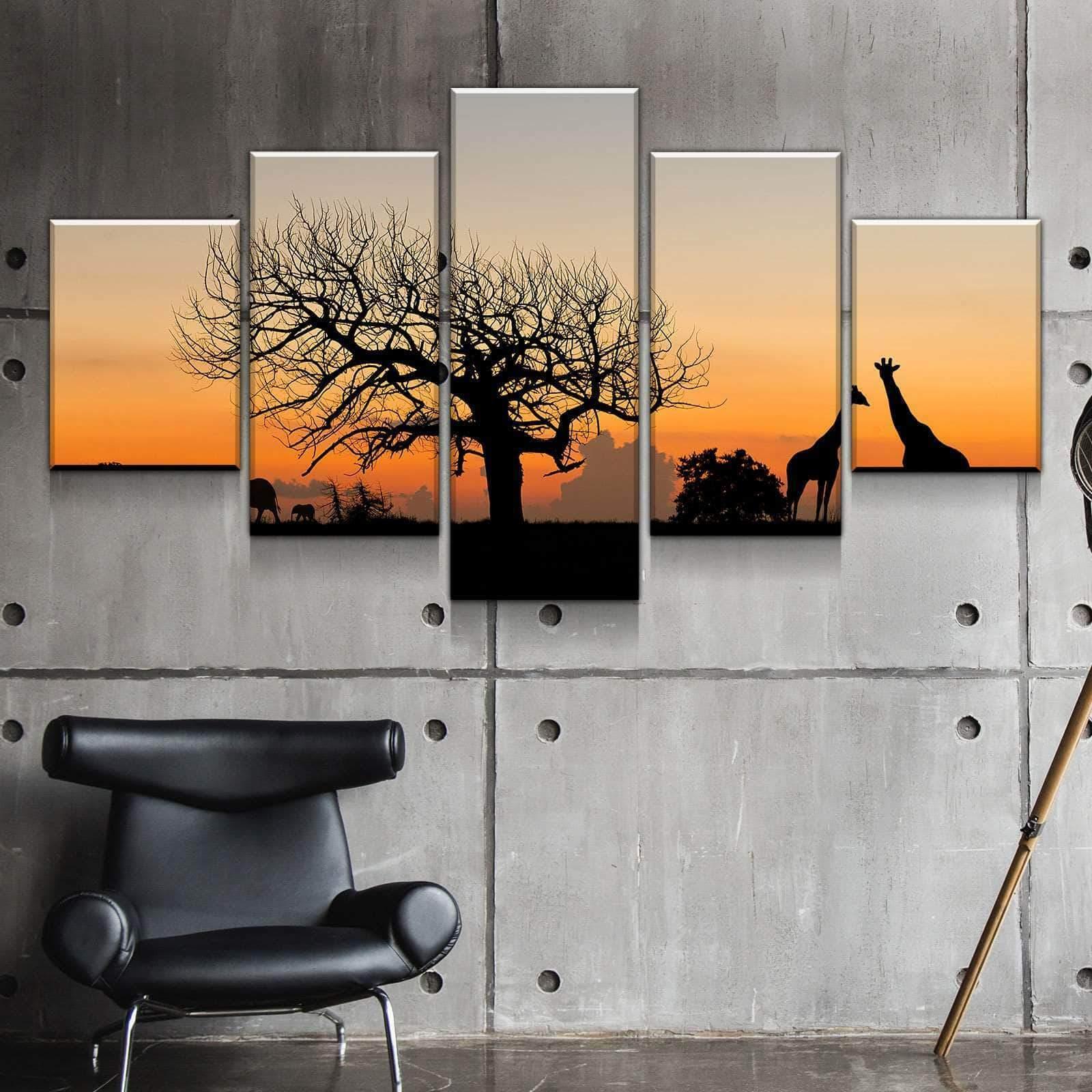 African Savanna giraffe 5 panel canvas Wall Art Home Decor Poster Print
