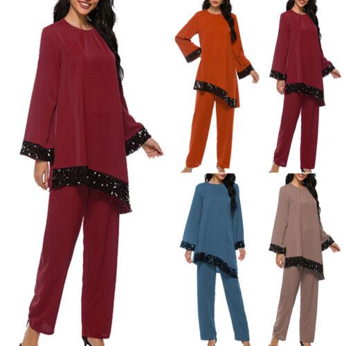 Details about  /All-match Folk-custom Womens Muslim Irregular Islamic Beads Tops Pants Suit Robe