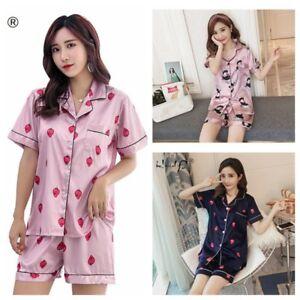750143b5a79 Women's Silk Satin Pajamas Set Short Sleeve Button-Down Print ...