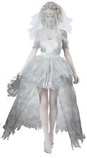 Ladies Halloween ghost bride fancy dress with veil,long skirt, head dress,8-10