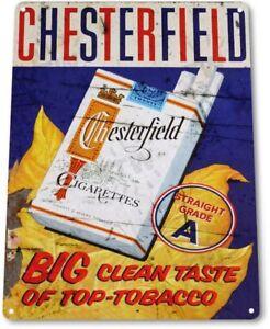 """TIN SIGN /""""Chesterfield Much Milder /""""Nicotine Deco Garage Wall Decor"""