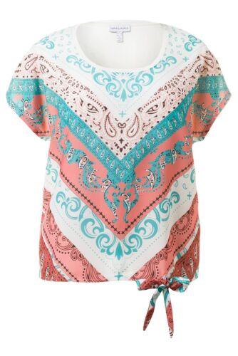 Gina Laura shirt Front pression Ibiza nœud multicolore NEUF
