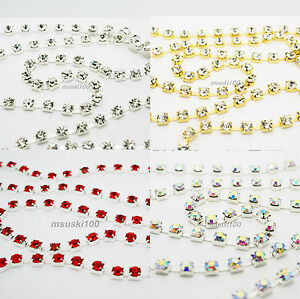 Rhinestone-Chain-Crystal-Glass-Gem-Silver-Gold-Cup-Trim-Ribbon-Sparkle-Diamante
