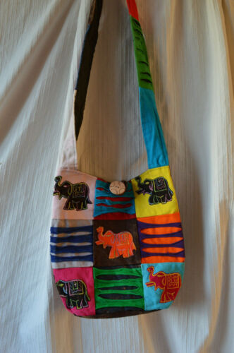 Colourful Ethnic Sling Bag Elephant Design cross shoulder messenger fabric hippy