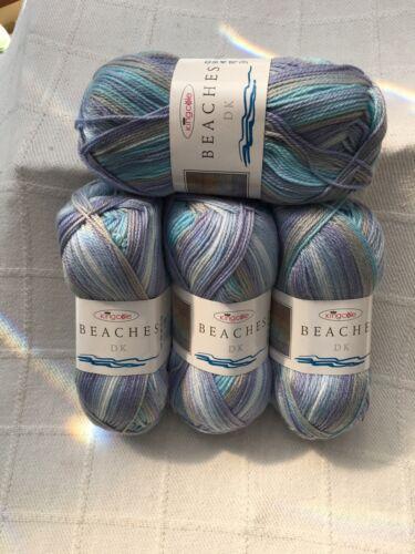King Cole Beaches DK Summer Pastel Knitting Yarn 400 Gram4 Balls Palm Beach